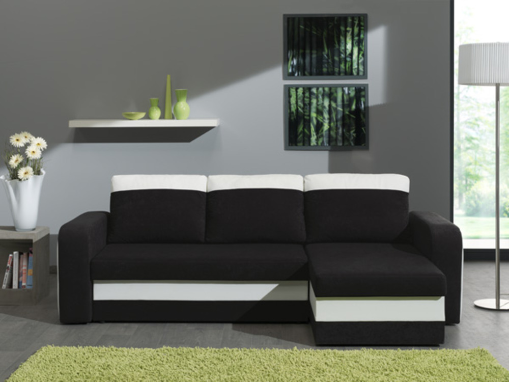 canape d 39 angle reversible et convertible hercule pu blanc microfibre noire. Black Bedroom Furniture Sets. Home Design Ideas
