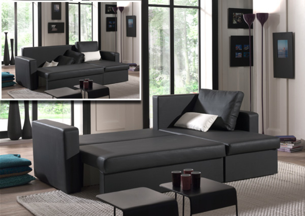 canape d 39 angle convertible et reversible romeo noir blanc. Black Bedroom Furniture Sets. Home Design Ideas