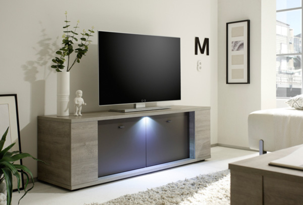 meuble tv sidney gris. Black Bedroom Furniture Sets. Home Design Ideas