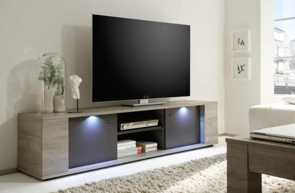 meuble tv gm sidney gris. Black Bedroom Furniture Sets. Home Design Ideas