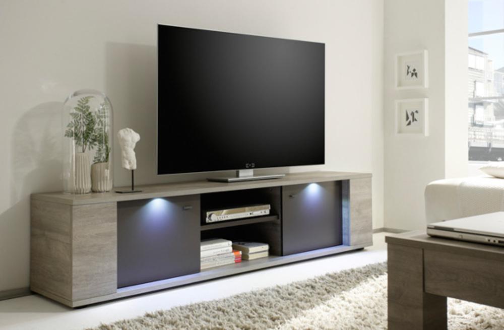 meuble tv gm sidney gris. Black Bedroom Furniture Sets. Home Design Ideas