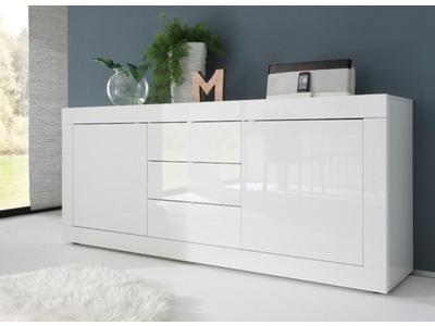 Bahut 2 portes 3 tiroirs Basic blanc brillant