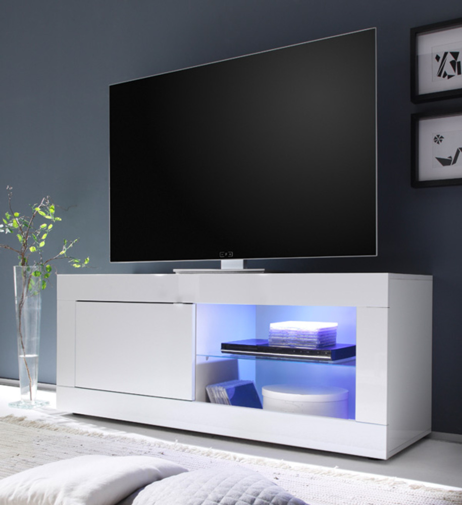 meuble tv basic costa blanc brillant. Black Bedroom Furniture Sets. Home Design Ideas