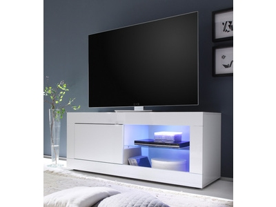 meuble tv basic blanc brillant. Black Bedroom Furniture Sets. Home Design Ideas