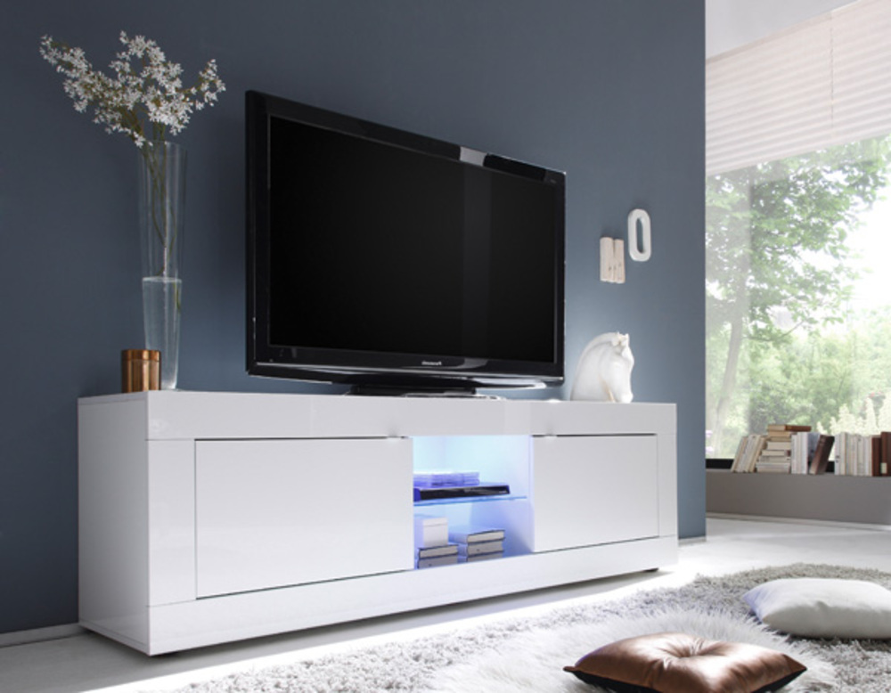 Meuble tv gm basic costa blanc brillant for Meuble tv pas cher blanc