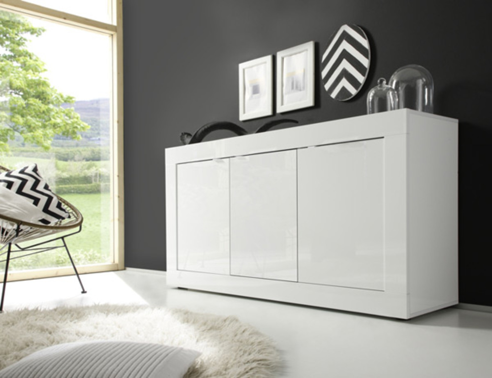 bahut 3 portes basic costa blanc brillant. Black Bedroom Furniture Sets. Home Design Ideas