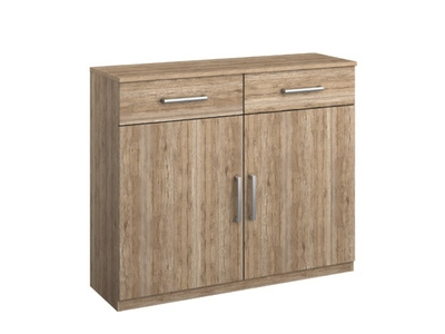 Commode 2 portes 2 tiroirs Borba chene sonoma/gris lave