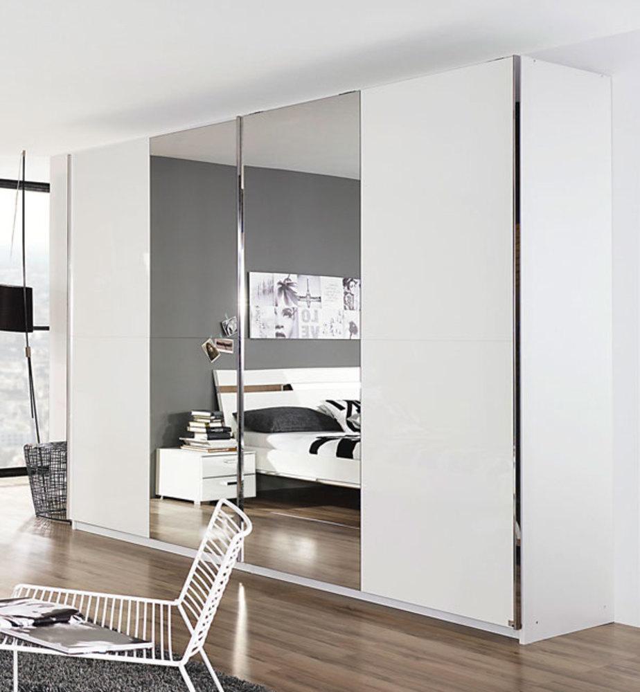 Armoire 2 portes coulissantes denia blanc miroir - Model armoire de chambre ...