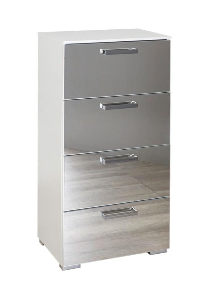 chiffonnier 4 tiroirs denia blanc miroir. Black Bedroom Furniture Sets. Home Design Ideas