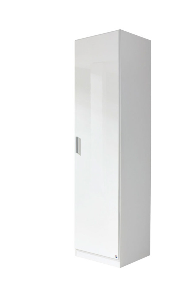 armoire 1 porte celle blanc/blanc brillant