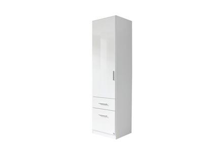 Armoire 1 porte+2 tiroirs  droite Celle blanc/blanc brillant