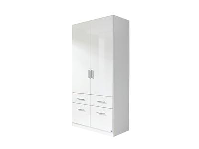 Armoire 2  portes 4 tiroirs Celle blanc/blanc brillant