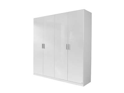 Armoire 4  portes Celle blanc/blanc brillant