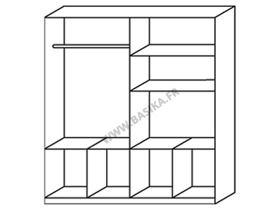 Armoire 4  portes 8 tiroirs Celle blanc/blanc brillant