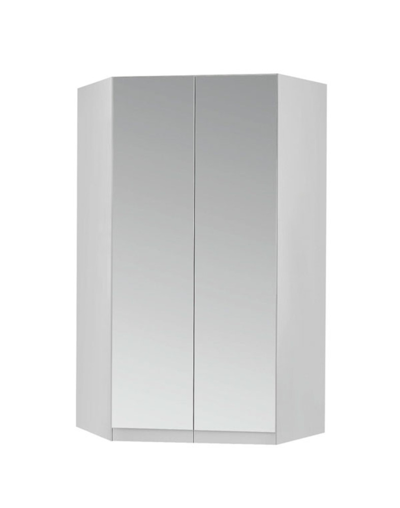 armoire d 39 angle 2 portes miroirs celle blanc blanc brillant. Black Bedroom Furniture Sets. Home Design Ideas