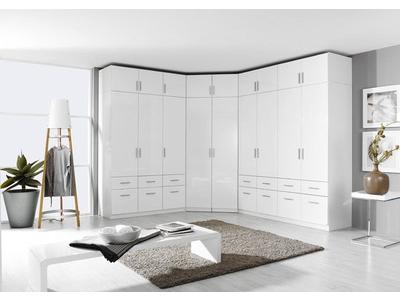 Armoire d'angle 2 portes miroirs Celle blanc/blanc brillant