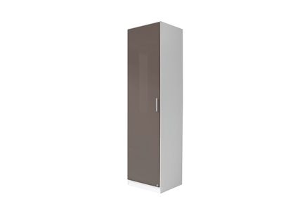 Armoire 1 porte Celle blanc/gris brillant