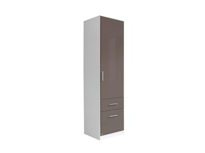 Armoire 1 porte+2 tiroirs  droite Celle blanc/gris brillant
