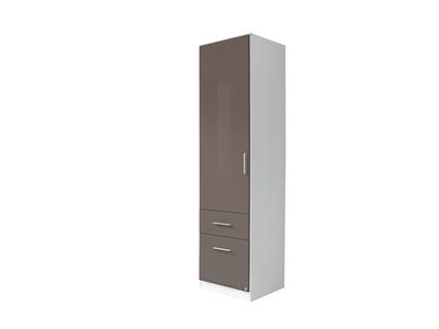 Armoire 1 porte+2 tiroirs  gauche Celle blanc/gris brillant