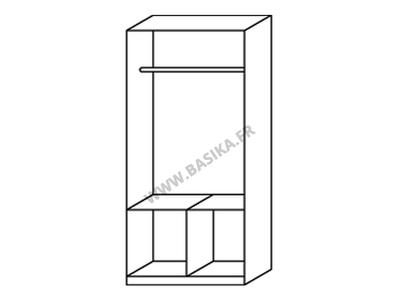 Armoire 2  portes 4 tiroirs Celle blanc/gris brillant