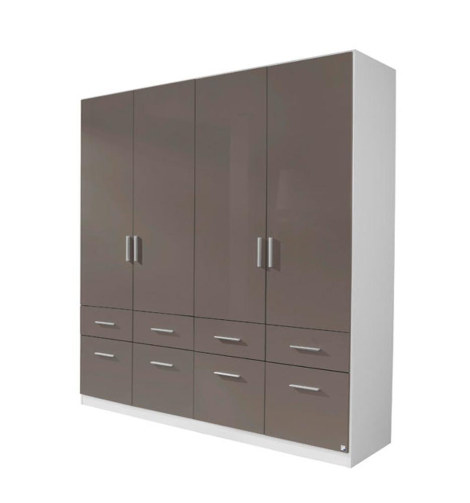 armoire 4 portes 8 tiroirs celle blanc gris brillant. Black Bedroom Furniture Sets. Home Design Ideas