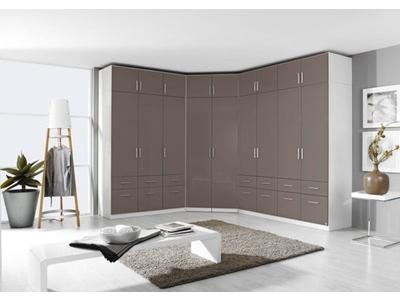 Armoire 4  portes 8 tiroirs Celle blanc/gris brillant