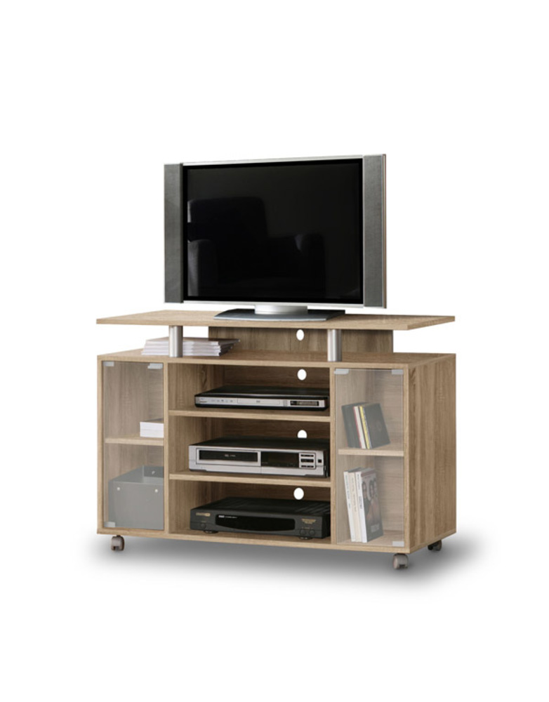 Meuble tv rack chene sonoma for Basika meuble tv