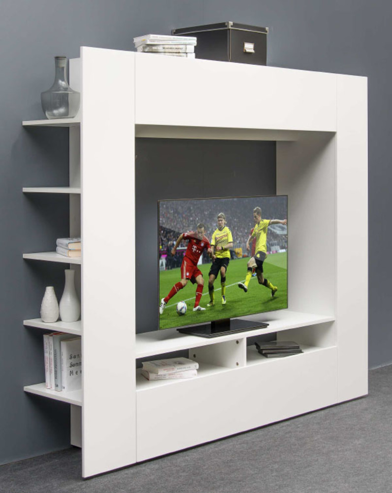 Meuble Tv Media Wall Blanc Brillant # Astuce Meuble Tv