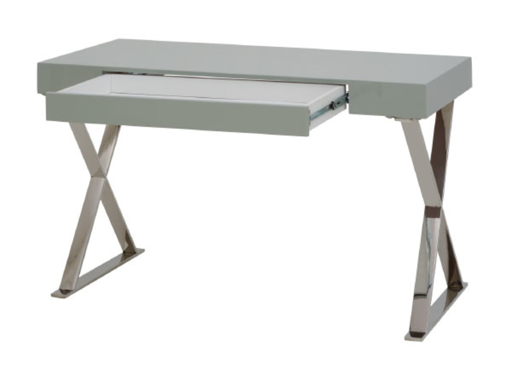 Bureau college laque gris for Meuble bureau 120