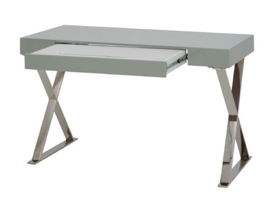bureau d 39 angle reversible pratico beton blanc brillant. Black Bedroom Furniture Sets. Home Design Ideas