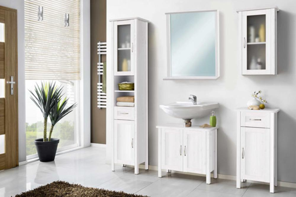 Element haut avec porte miroir et etag res garda blanc for Meuble haut porte miroir