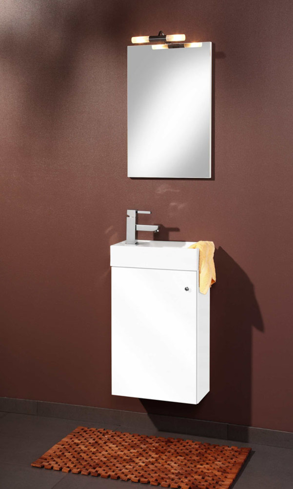 Element bas miroir sologna blanc for Element bas salle de bain
