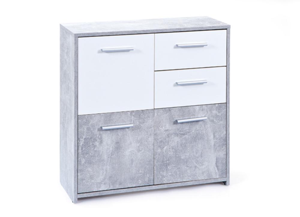 Commode 3 portes 2 tiroirs nicolus blanc beton - Commode plusieurs tiroirs ...