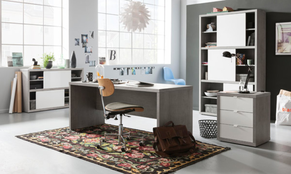 bureau d 39 angle r versible pratico b ton blanc brillant. Black Bedroom Furniture Sets. Home Design Ideas