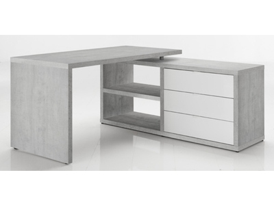 Bureau dangle réversible pratico béton blanc brillant