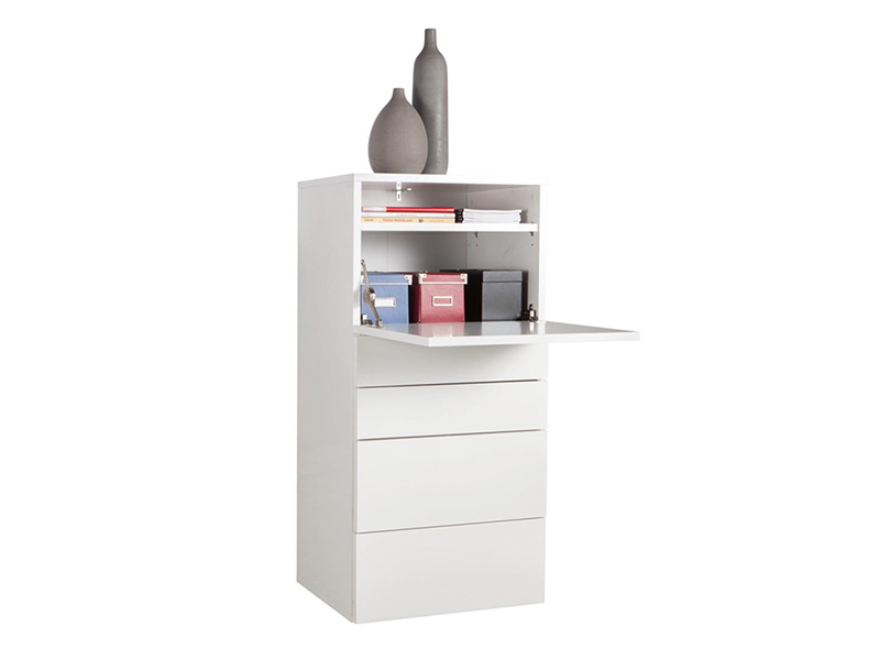 Secretaire galleria blanc brillant for Meuble bureau secretaire