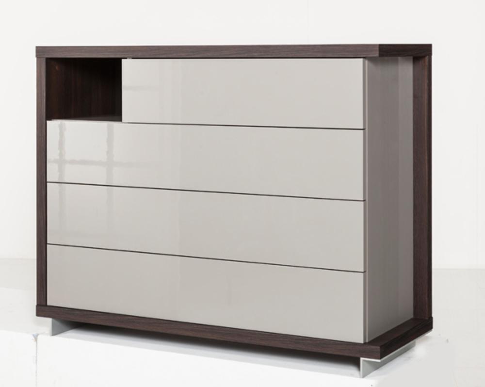 commode 4 tiroirs tramonti chene tortona gris brillant. Black Bedroom Furniture Sets. Home Design Ideas