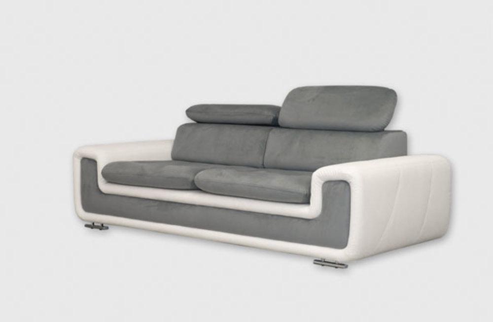 Canape 3 places coco blanc gris fonce l 228 x h 94 x p 98 for Monsieur meuble canape cuir blanc