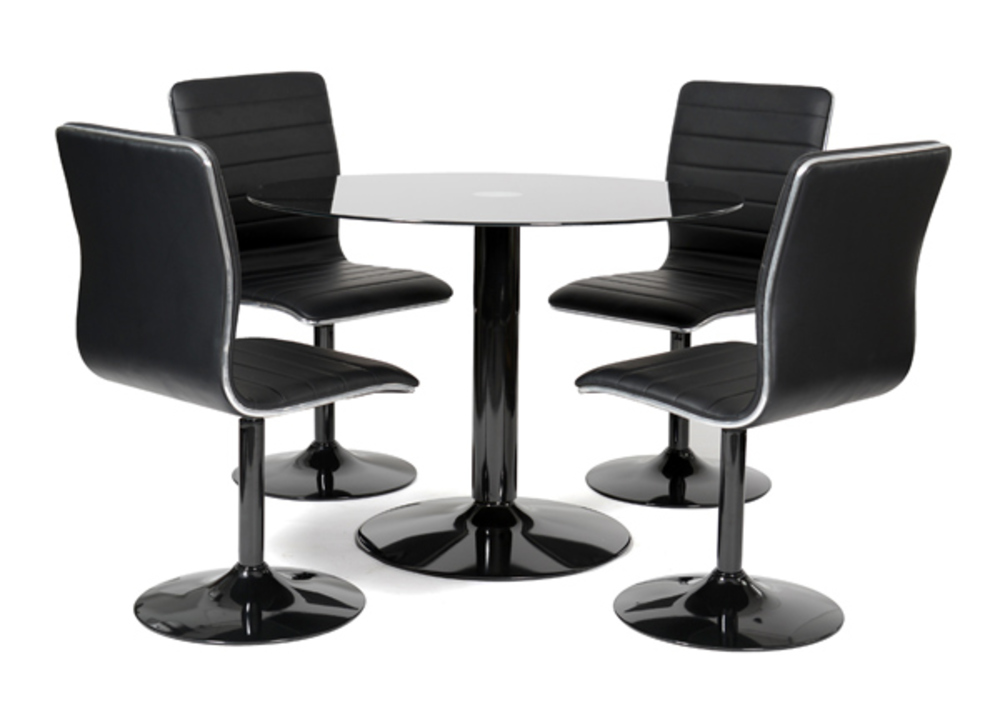 Table 4 chaises alister noir for Table en verre et chaise