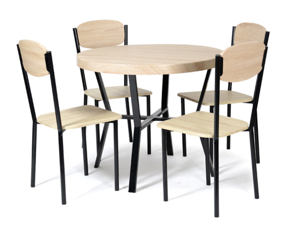 Table 4 chaises casa noir chene for Table ronde avec chaise