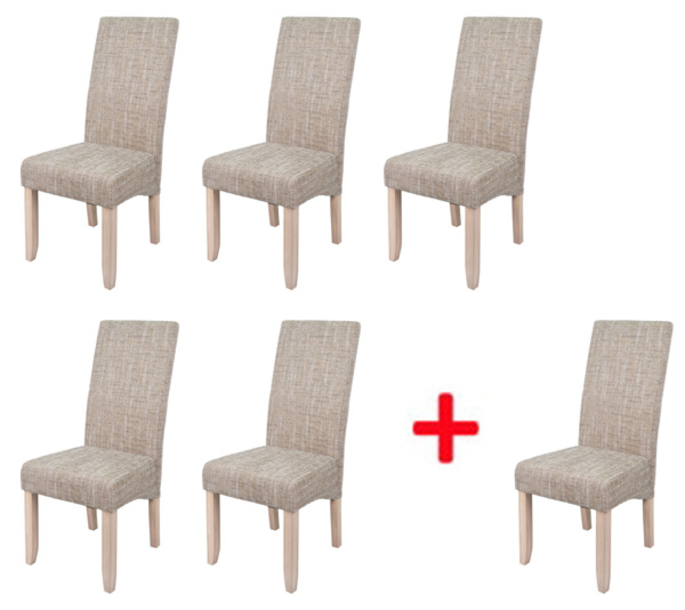 Lot de 5 chaises 1 offerte sagua naturel beige for Chaise salle a manger solde