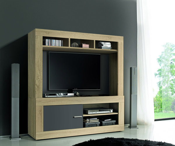 meuble tv complet aura chene samoa gris mat. Black Bedroom Furniture Sets. Home Design Ideas