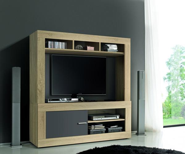 meuble tv complet aura chene samoa gris mat. Black Bedroom Furniture Sets. Home Design Ideas