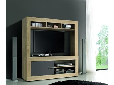 Meuble tv complet Aura chene samoa/gris mat