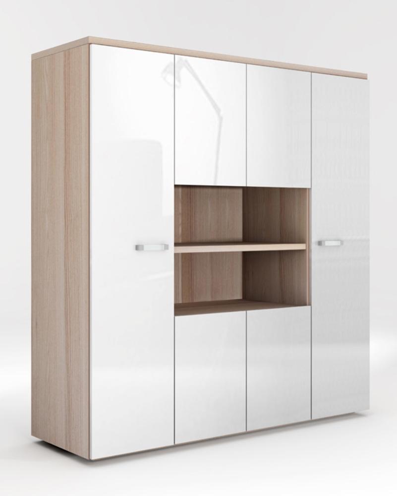 armoire 6 portes calisma frene clair blanc brillant. Black Bedroom Furniture Sets. Home Design Ideas