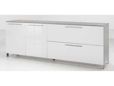 Bahut 2 portes 1 abattant 1 tiroir Modello beton/blanc brillant
