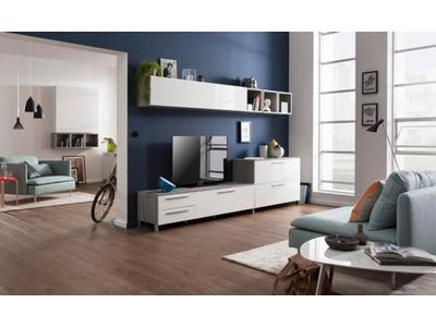 Meuble tv Modello béton/blanc brillant