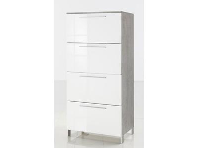 Commode 1 abattant 3 tiroirs Modello béton/blanc brillant