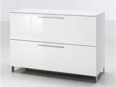 Commode 1 abattant 1 tiroir Modello blanc brillant