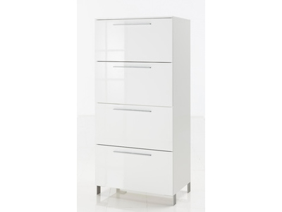 Commode 1 abattant 3 tiroirs Modello blanc brillant